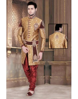 Wedding Wear Brown & Maroon Brocade Sherwani - 75520
