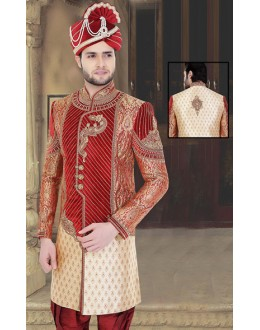 Bridal Wear Cream & Maroon Jacquard Sherwani - 75521
