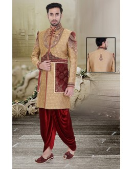 Wedding Wear Brown & Maroon Jute Sherwani - 75522