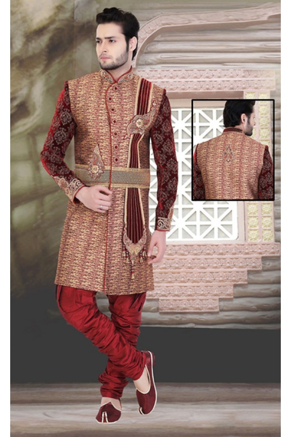 Traditional Brown & Maroon Jute Sherwani - 75524