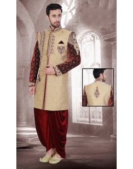 Wedding Wear Brown & Maroon Jacquard Sherwani - 75525