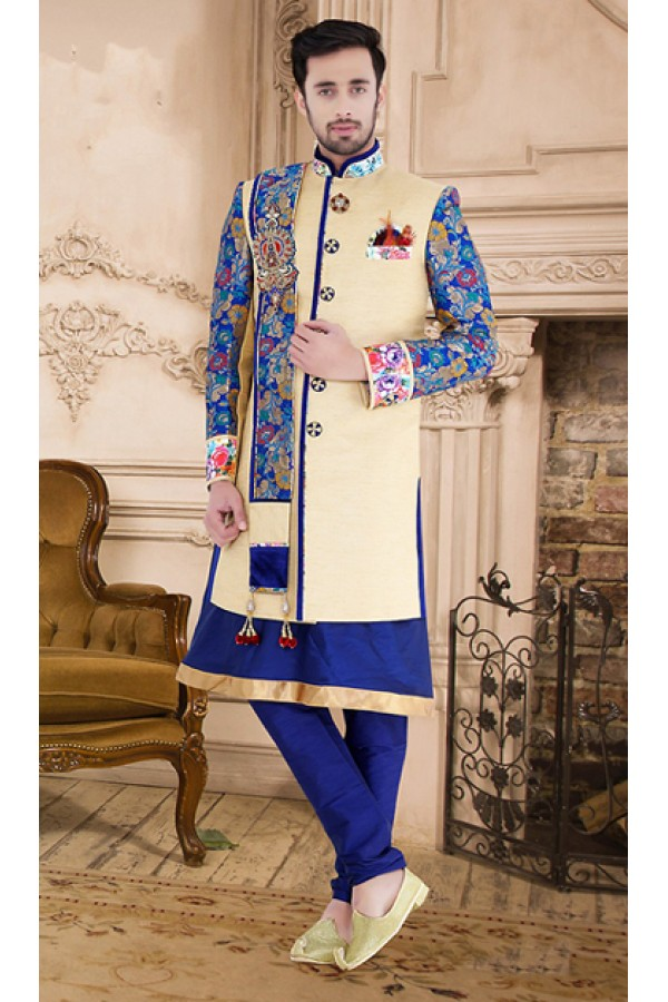 Ethnic Wear Cream & Navy Blue Khadi Sherwani - 75530