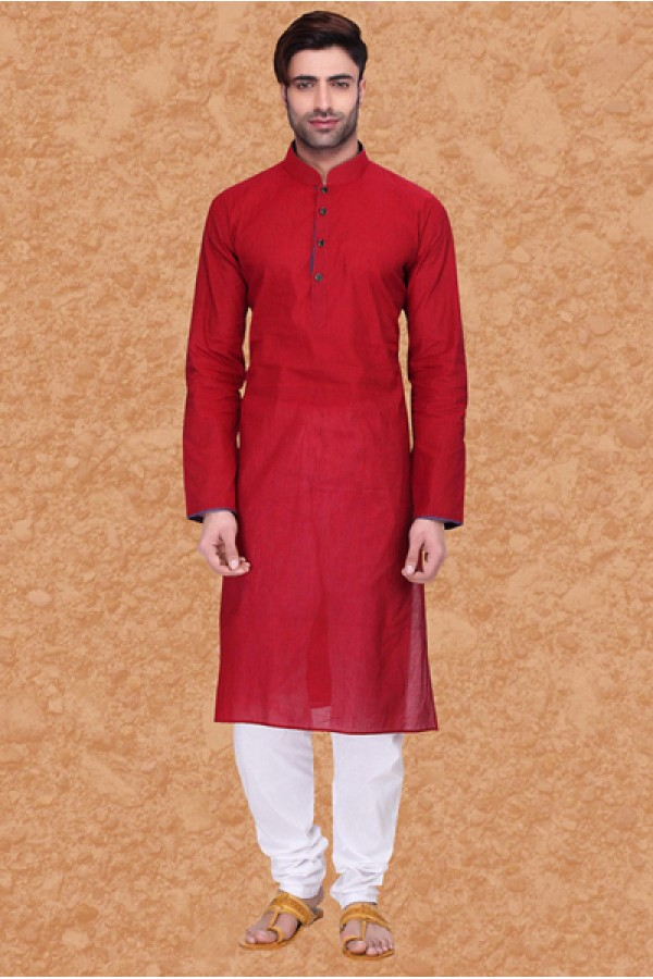 Wedding Wear Red & White Cotton Kurta Pajama - 75561