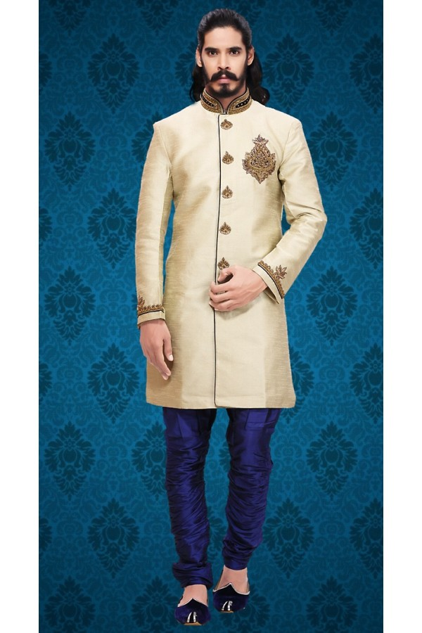 Wedding Wear Beige & Blue Brocade Sherwani - 75590
