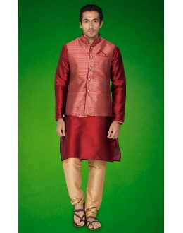 Festival Wear Red Indo Western Kurti With Jacket - 78722