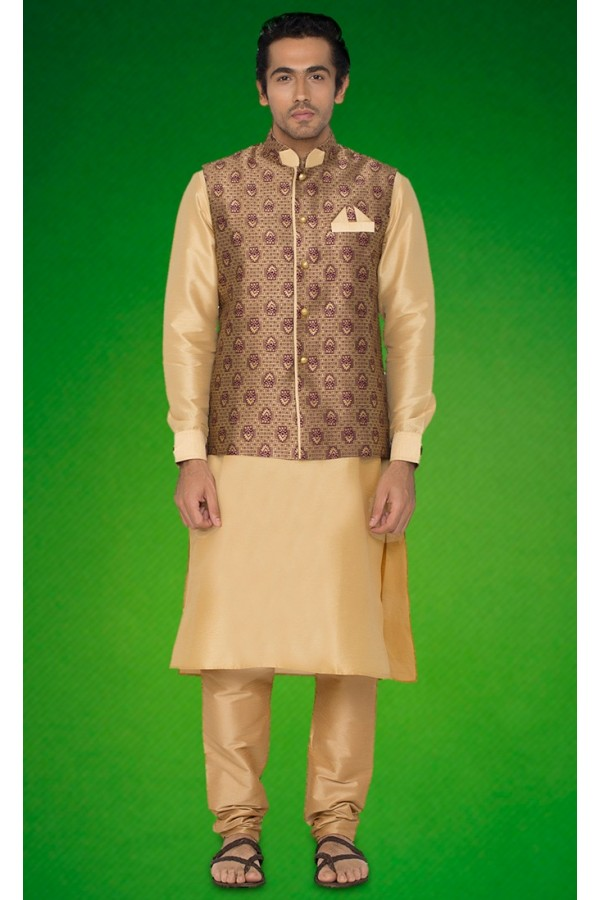 Wedding Wear Brown Indo Western Kurti With Jacket - 78726