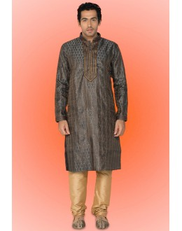 Ready-Made Traditional Grey Kurta & Pajama - 78733