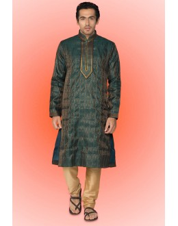 Ready-Made Ethinc Wear Green Kurta & Pajama - 78734