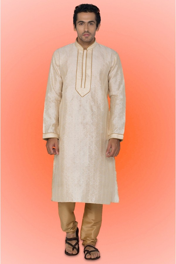 Ready-Made Ethinc Wear Cream Kurta & Pajama - 78735