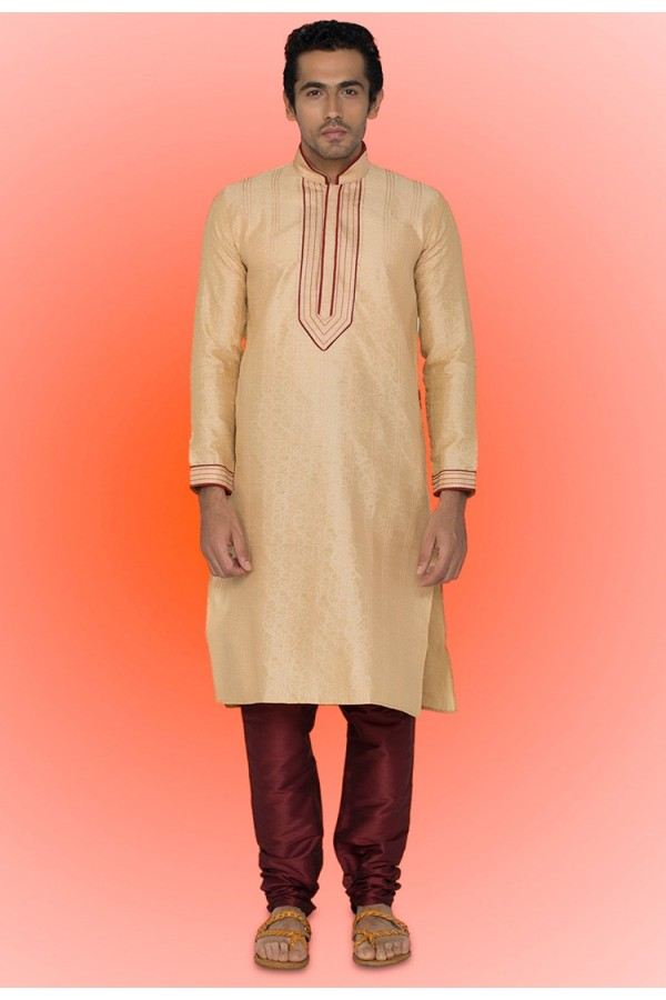 Ready-Made Festival Wear Brown Kurta & Pajama - 78736