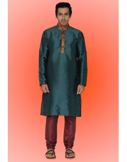 Ready-Made Ethnic Wear Green Kurta & Pajama - 78748