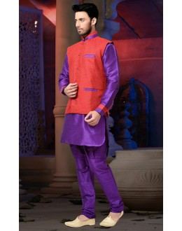 Ready-Made Traditional Purple Kurta & Pajama With Jacket - 78793