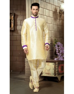 Ready-Made Ethnic Wear Cream Kurta & Pajama - 78794