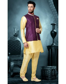 Ready-Made Traditional Cream Kurta & Pajama With Jacket - 78795