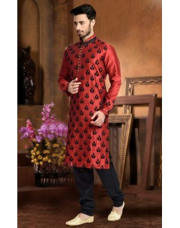 Ready-Made Festival Wear Red Kurta & Pajama - 78812