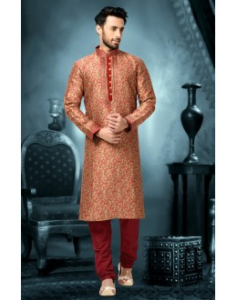 Ready-Made Festival Wear Brown Kurta & Pajama - 78813