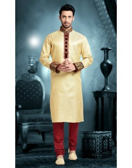 Ready-Made Wedding Wear Cream Fancy Kurta - 78816