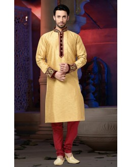 Ready-Made Traditional Beige Kurta & Pajama - 78818