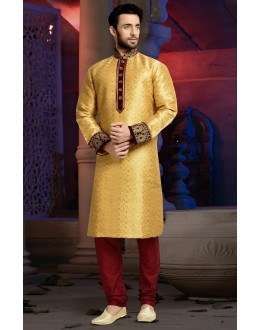 Ready-Made Wedding Wear Gold Kurta & Pajama - 78819