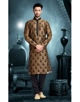 Ready-Made Festival Wear Brown Kurta & Pajama - 78827