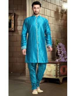 Ready-Made Traditional Sky Blue Indo Western Kurti - 78836