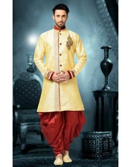 Ready-Made Wedding Wear Yellow Indo Western Kurti - 78841