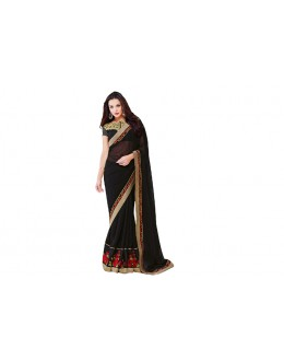 Party Wear Georgette Black Saree - RKVR2105