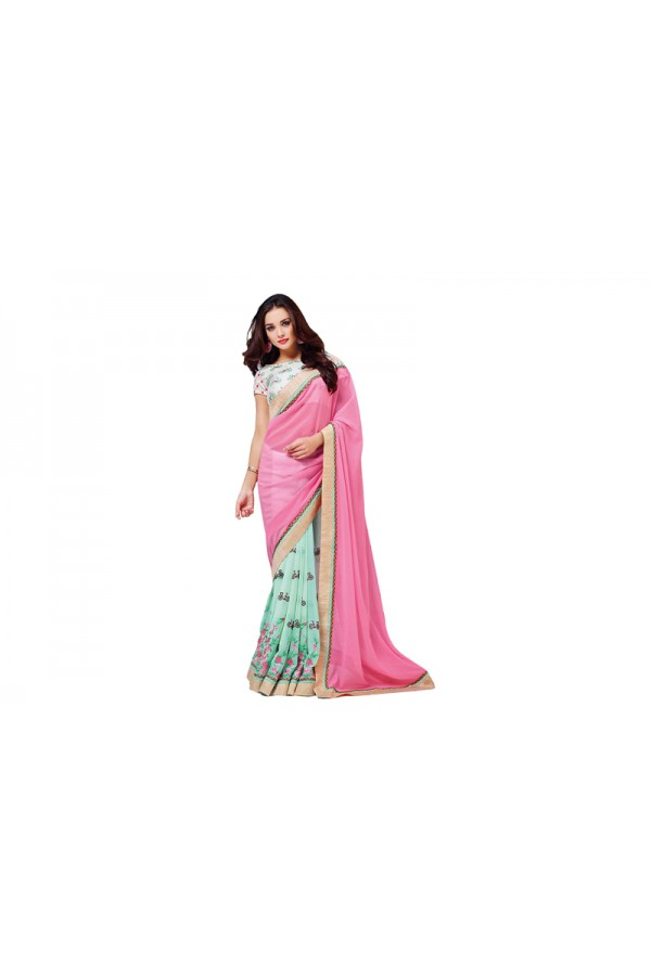 Party Wear Georgette Pink Blue, Saree - RKVR2107