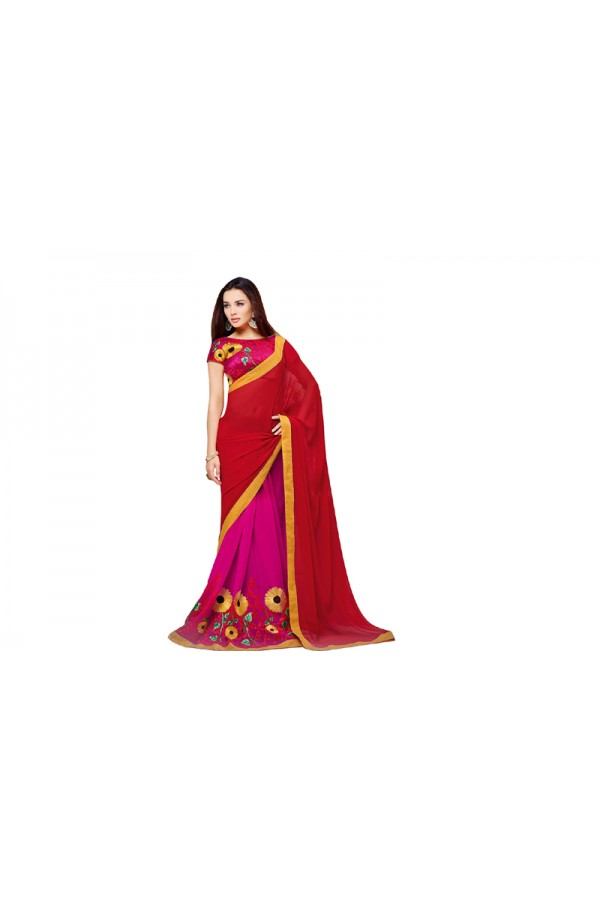 Party Wear Georgette Red Pink , Saree - RKVR2108