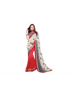 Party Wear Georgette Red,  White Saree - RKVR2103