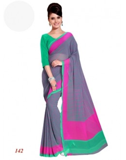 Designer Georgette Green Saree - RKAM142