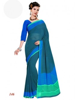 Designer Georgette Green Saree - RKAM146