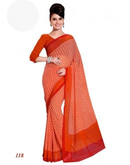 Designer Georgette Red Saree - RKAM118