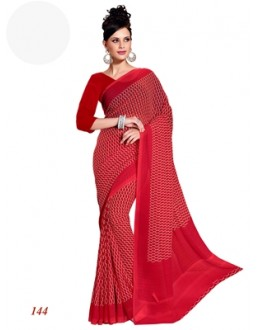 Designer Georgette Red Saree - RKAM144