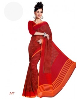 Designer Georgette Red Saree - RKAM147