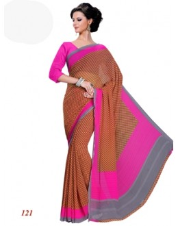 Ethnic Wear Georgette Brown Saree - RKAM121