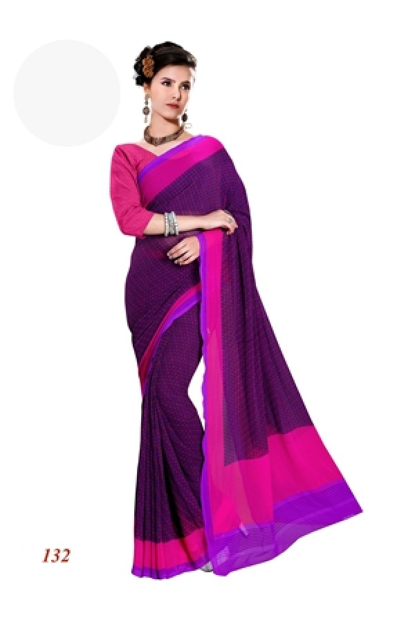 Ethnic Wear Georgette Pink Saree - RKAM132