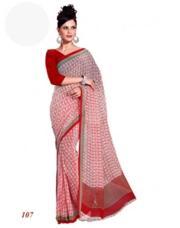 Ethnic Wear Georgette Red Saree - RKAM107