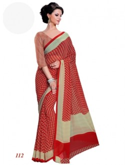 Ethnic Wear Georgette Red Saree - RKAM112