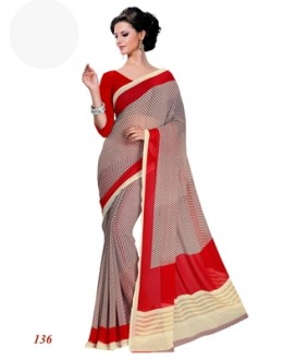 Ethnic Wear Georgette Red Saree - RKAM136