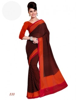 Party Wear Georgette Brown Saree - RKAM133