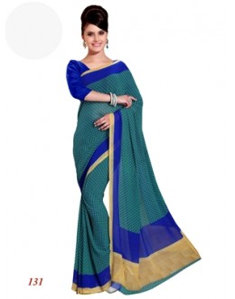 Party Wear Georgette Green Saree - RKAM131