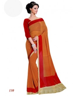 Party Wear Georgette Orange Saree - RKAM130