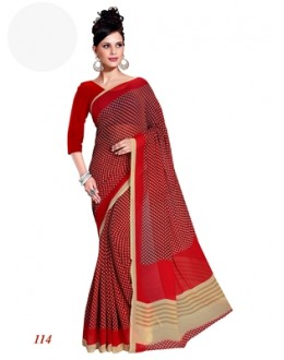 Party Wear Georgette Red Saree - RKAM114