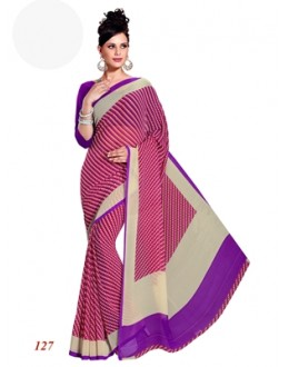 Party Wear Georgette Violet Saree - RKAM127