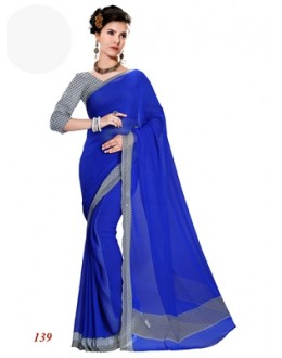 Party Wear Georgette Violet Saree - RKAM139