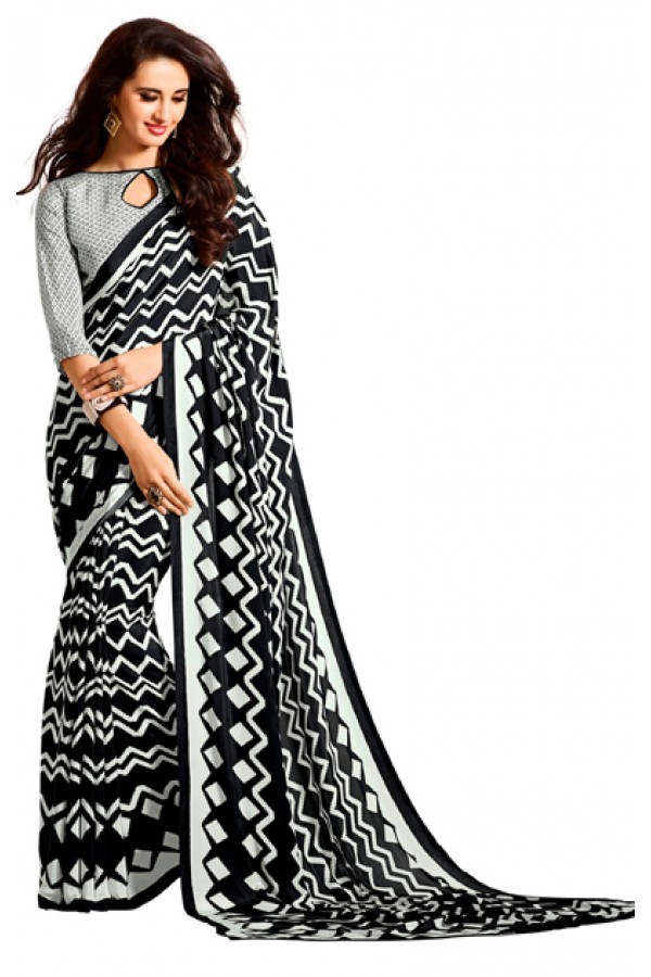 Party Wear Black & White Crepe Saree - RKAM5101