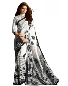 Party Wear Black & White Crepe Saree - RKAM5102