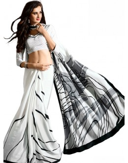 Casual Wear Black & White Crepe Saree - RKAM5106