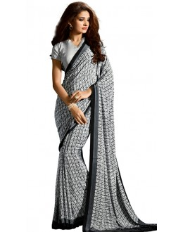 Casual Wear Black & White Crepe Saree - RKAM5107